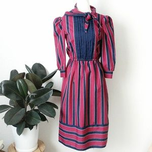 70-80s Vintage Striped Button Down Shirt Dress